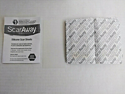 """ScarAway Silicone Scar Treatment Sheets 12 Ct 1.5""""x3"""" open box Exp-2023"""