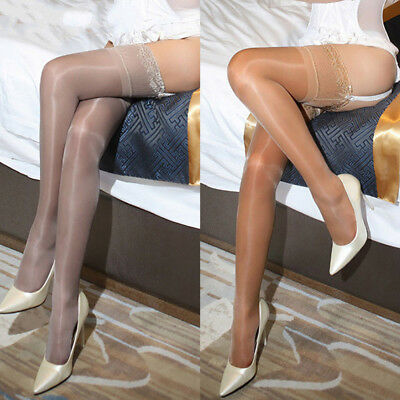 Women Oil Shiny Glossy High Stockings Lace Silicone Stay Up Thigh-Highs Hosi _RS
