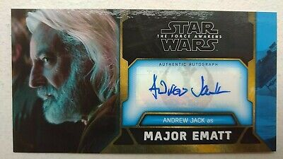 ANDREW JACK 2017 Topps Star Wars Force Awakens 3D Widevision AUTO Card 3/5 Ematt