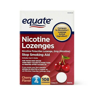 Equate Nicotine Lozenges Stop Smoking Aid Cherry Flavor, 2 mg, 108 Ct