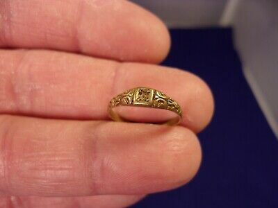 Very Rare & Tiny Antique Victorian Era 14K Yellow Gold (Satin) Solitaire Ring