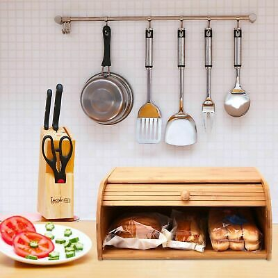 Roll Top Bread Box Bamboo Cake Container for Home Kitchen Food Storage Holder