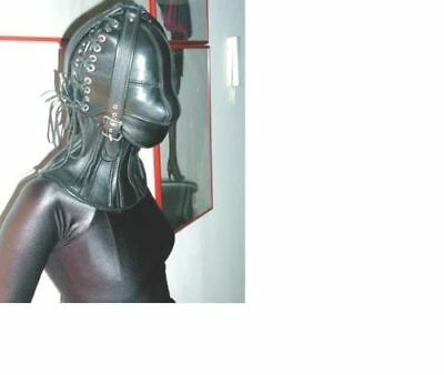 Real leather suffocating mask hood gimp cuir slave air tight kink Steel Bonned B