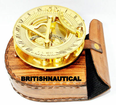 Nautical Collectibles Brass Sundial Compass With Handmade Brown Leather Case