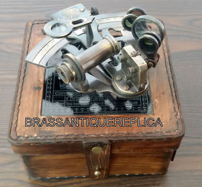 4'' BRASS VINTAGE ANTIQUE SEXTANT WITH  TRAVELLING WOODEN BOX  Maritime
