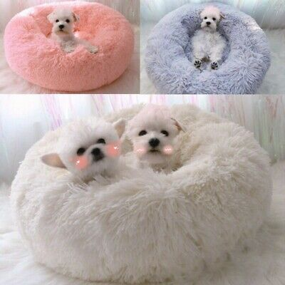 Pet Dog Cat Comfortable Round Nest Warm Soft Plush Calming Mat Sleeping Bed  US