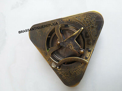 ROYAL collectible triangle black antique finish Marine Working Sundial Compass