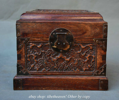 "9.2"" Old Chinese Huanghuali Wood Carving Stripe Handle Jewel Jewelry box"