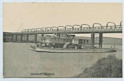 1910 Siddall Pu Postcard Paddle Steamer Towing Barge On Side Murray Bridge C68