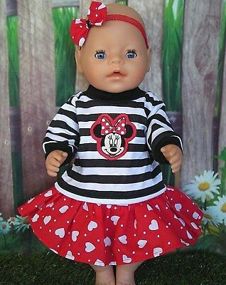 "Dolls clothes for 17"" Baby Born doll~MINNIE MOUSE BLACK STRIPE TOP~HEART SKIRT"