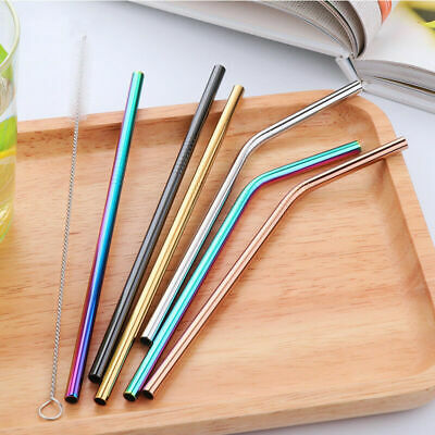 5 x Stainless Steel Metal Drinking Straw Straws Bent Reusable Washable+ Brushes