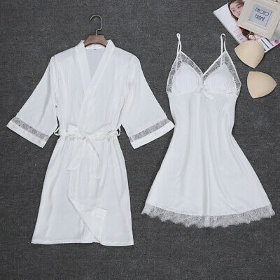 2Pcs Women Silk Satin Sleepwear Lingerie Nightie Nightdress Night Robe Pajamas