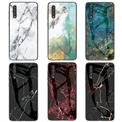 For Samsung Galaxy A20E A30 A50 A70 Marble Tempered Glass Hybrid Hard Case Cover