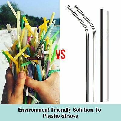8 x Stainless Steel Metal Drinking Straw Straws Bent Reusable Washable + Brush