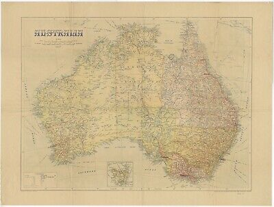 Antique Map of Australia by Johnston (1937)