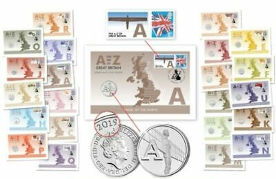 A-Z 10p Alphabet 2019 UK Coin Cover COMPLETE 26 COINS & STAMPS COVERS IN ALBUM