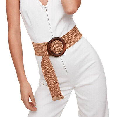 1PC Round Wooden Buckle Dress Braided Wide Strap Girls Elastic PP Straw Belts