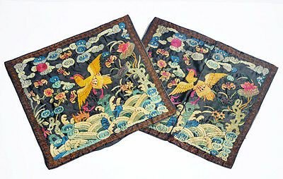 A Pair Antique Chinese Mandarin Rank Badge Buzi Embroidery Qing Dynasty