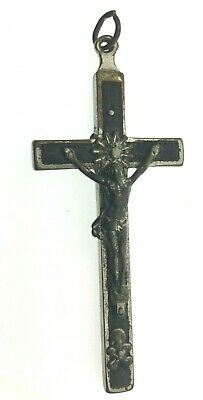 Wood Crucifix Solid Pendant Excellent Carved Detail with Wooden Center