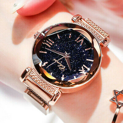 Stylish Women Ladies Crystal Starry Sky Watch Magnetic Strap Bracelet Watches