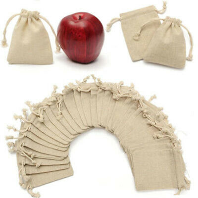 50* Small Burlap Linen Jute Sack Jewelry Pouch Drawstring Wedding Gift Mini Bags