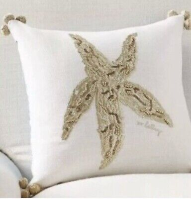 13932f35e4a767 Pottery Barn Starfish LILLY PULITZER SEEING STARS EMBROIDERED REVERSIBLE  PILLOW