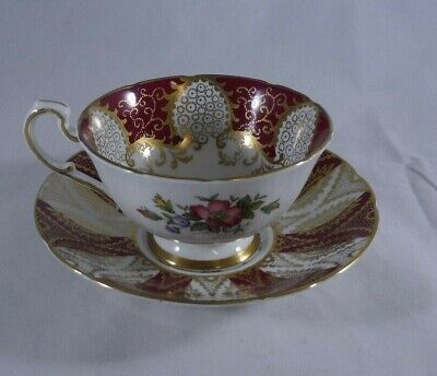Paragon Red & Gold Filigree Tea Cup and Saucer Bone China Floral Mismatched