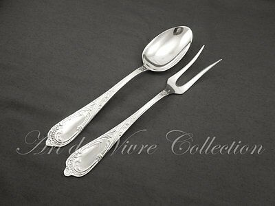French Antique Silverplated Serving Fork & Spoon, Louis XV Rocaille Rococo