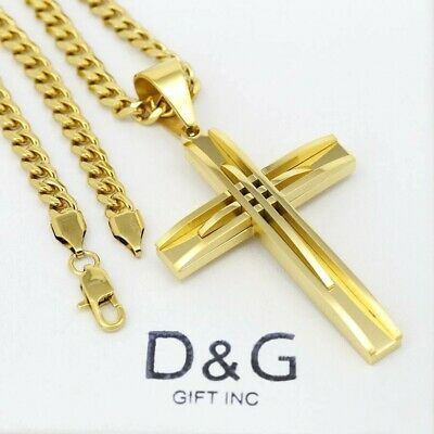 "DG 20"" Stainless-Steel Gold Cuban Curb Chain 40mm Small CROSS Pendant.Unisex*Box"