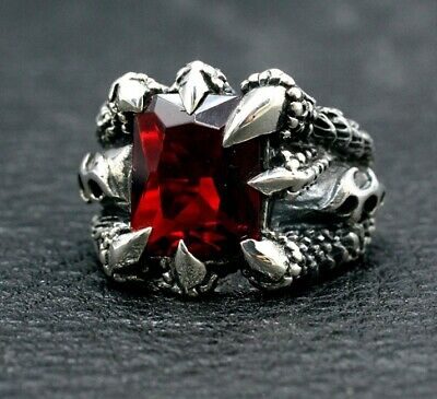 925 Sterling Silver dragon claw Ring Mens Biker Punk Ring Jewelry S3448