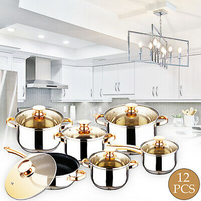 12 Pcs INDUCTION HOB STAINLESS STEEL CASSEROLE POT SAUCEPAN COOKWARE DINING SET
