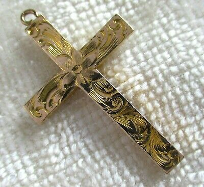 Antique Victorian 10k Gold Chased Floral And Foliate Cross Etched Scroll Flowers
