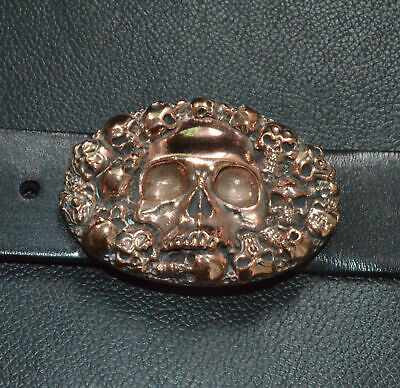 Pure Handmade  Red Copper cast Human Skull Oval Belt Buckle Punk Personal Gift