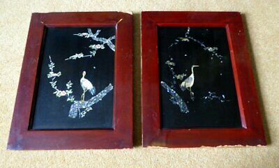 Pair Of Antique Oriental Lacquered Panels Inlaid With Storks In Mother Of Pearl