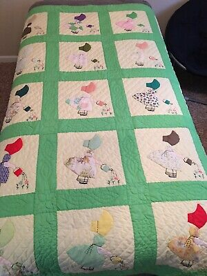 Vintage 70s Sunbonnet Sue Quilt Handmade Appliques and Embroidery Hand Quilted