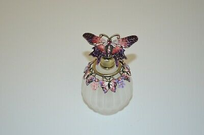 Round Ribbed Frosted Glass Perfume Bottle with Enameled Butterfly & Floral Decor