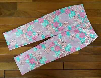 Lilly Pulitzer Capri Cropped Pants Pink Blue Red Floral Size 6