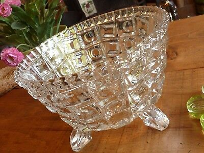 Beautiful Clear Glass Large Decorative Bowl with Four Legs Vintage Pressed Glass