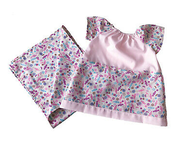 Gift Boxed-Pretty newborn pink multi baby dress and matching small blanket-BD09