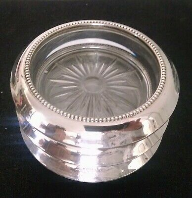 1950's Style Three Piece Sterling Silver & Glass Coaster Set.