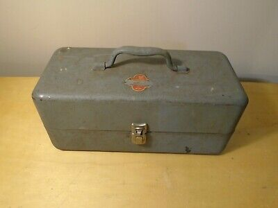 Vintage BELKNAP BLUEGRASS Steel Metal Tool Box Fishing Tackle Box