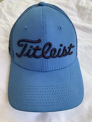 Titleist Footjoy Pro V1 Golf Trucker Hat Blue New Era Fitted Mesh S/M Exc Cond