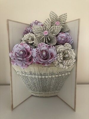 Handmade Folded Book Art Folded Vase & Flowers Thank You Gift Birthday Display