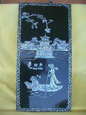 Vietnamese Raised Mother Of Pearl Inlay Black Lacquer Wall Hanging Asian Plaque