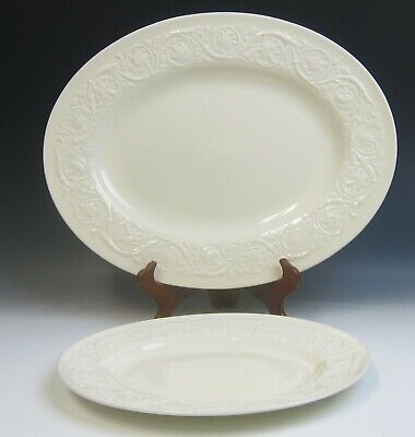 """Lot of 2 Wedgwood China PATRICIAN 12"""" & 16"""" Oval Serving Platters EXCELLENT"""