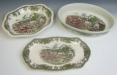 Lot of 3 Johnson Bros FRIENDLY VILLAGE-THE village GREEN Veg. Bowl,Baker,Platter