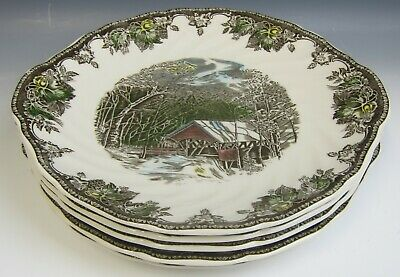 "Lot of 5 Johnson Bros FRIENDLY VILLAGE-COVERED BRIDGE 10"" Handled Cake Plates EX"