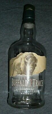 Buffalo Trace Bourbon Whiskey Empty Glass Bottle with Cork Top Rare!