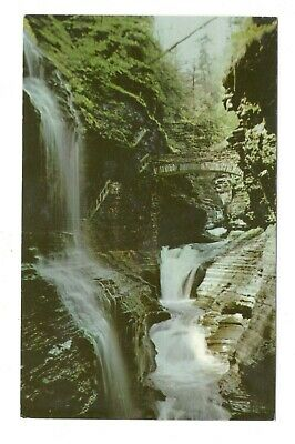 Rainbow Falls Watkins Glen New York Vintage Postcard AN1