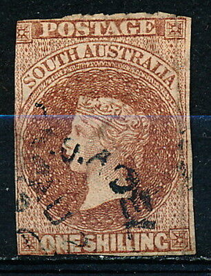 South Australia Stamp - Sc# 25 - Used - Queen Victoria One Shilling